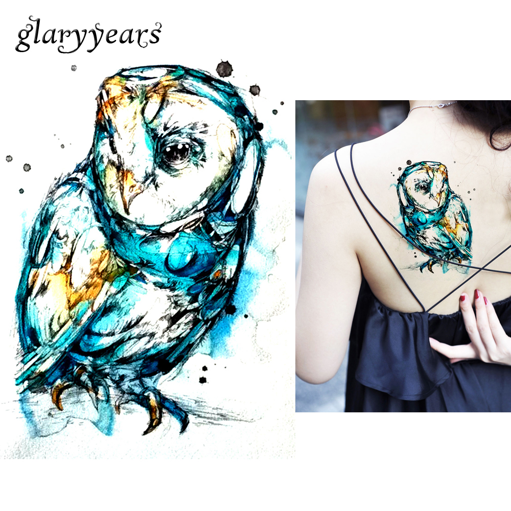 1 Sheet Watercolor Waterproof Tattoo KM-104 Dream Color Drawing Owl Decal Women Men Body Art Temporary Tattoo Taty Sticker Paper