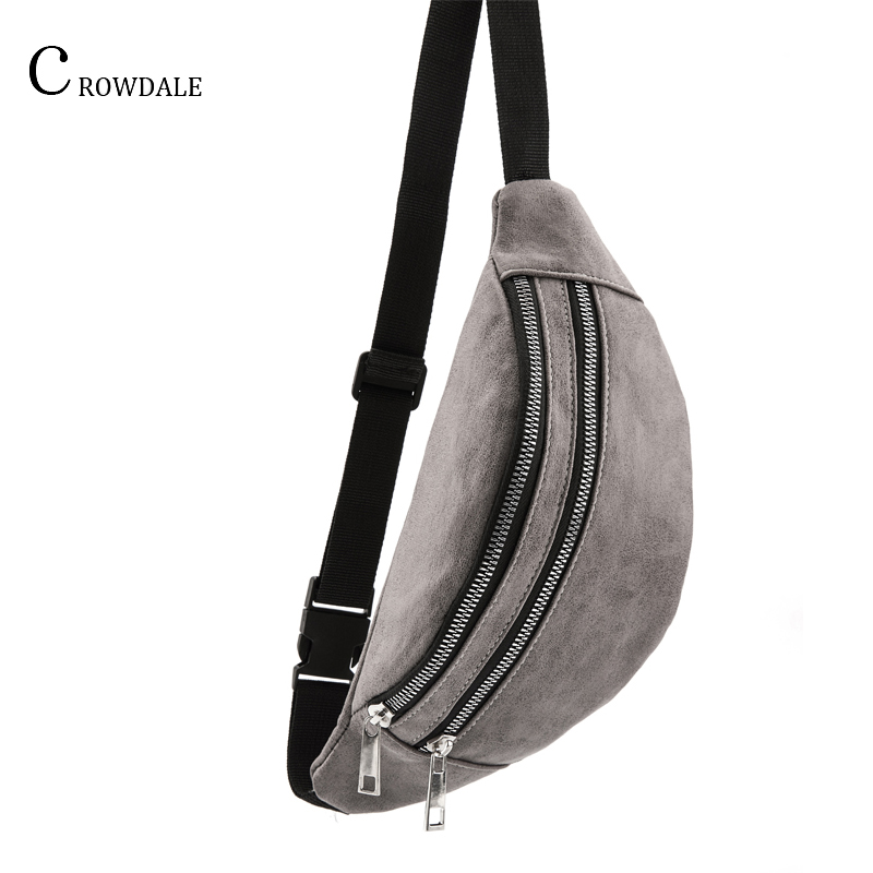 CROWDALE Chest Bag For Women Large Capacity Fashion Waist Packs Adjustable Belt Bag Zipper Leather Waist Bag Women Shoulder Bag