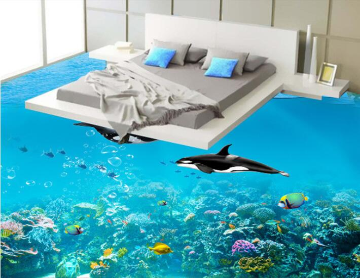 Online buy wholesale dolphins wallpaper from china for Floor 3d painting