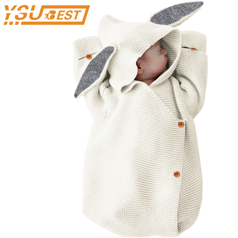 0-1Y Blankets Rabbit Baby Stroller Sleeping Bag Spring Autumn Newborn Infant Knitted Swaddle Wrap Nest Envelopes For Toddler Kid