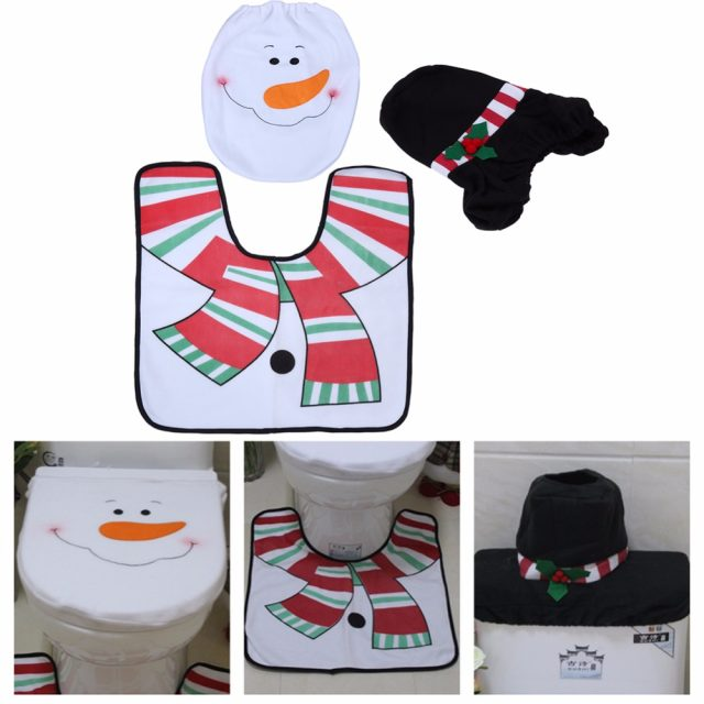 3 Pcs Christmas Santa Toilet Seat Cover Rug Bathroom Set Decoration Xmas Natal Navidad For Home