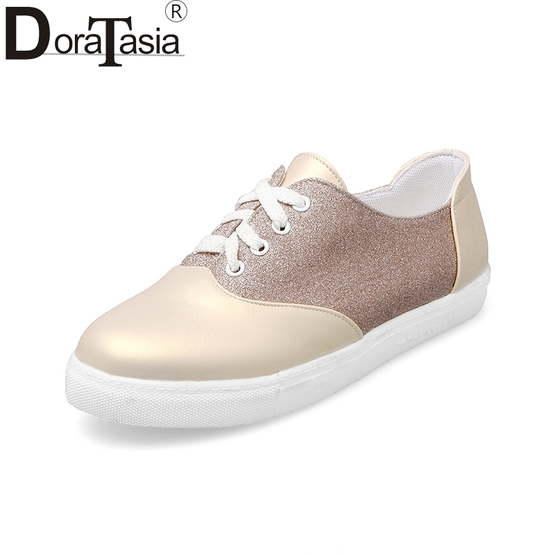 Doratasia 2018 fashion Big Size 34-43 sneakers Women Shoes woman Lace Up Flats shoes woman Shallow Soft Shoes Lady Footwear girls fashion punk shoes woman spring flats footwear lace up oxford women gold silver loafers boat shoes big size 35 43 s 18