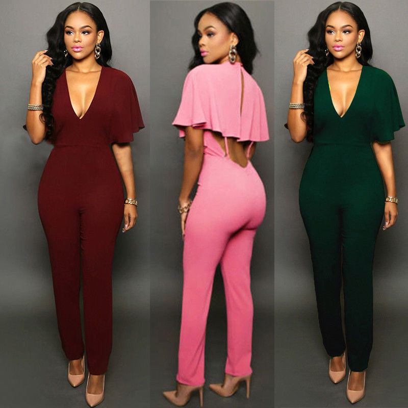 2018 Summer style deep v neck backless women jumpsuit plus size sexy ladies short sleeve jumpsuits