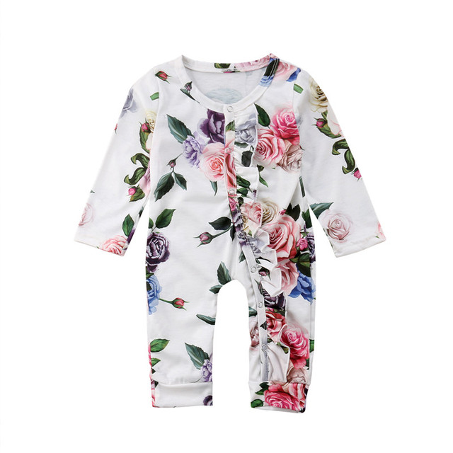 6fae156a01da Newborn Baby Girls Cotton Flower Long Sleeve Cotton Romper Jumpsuit  Playsuit Outfits Clothes Canis