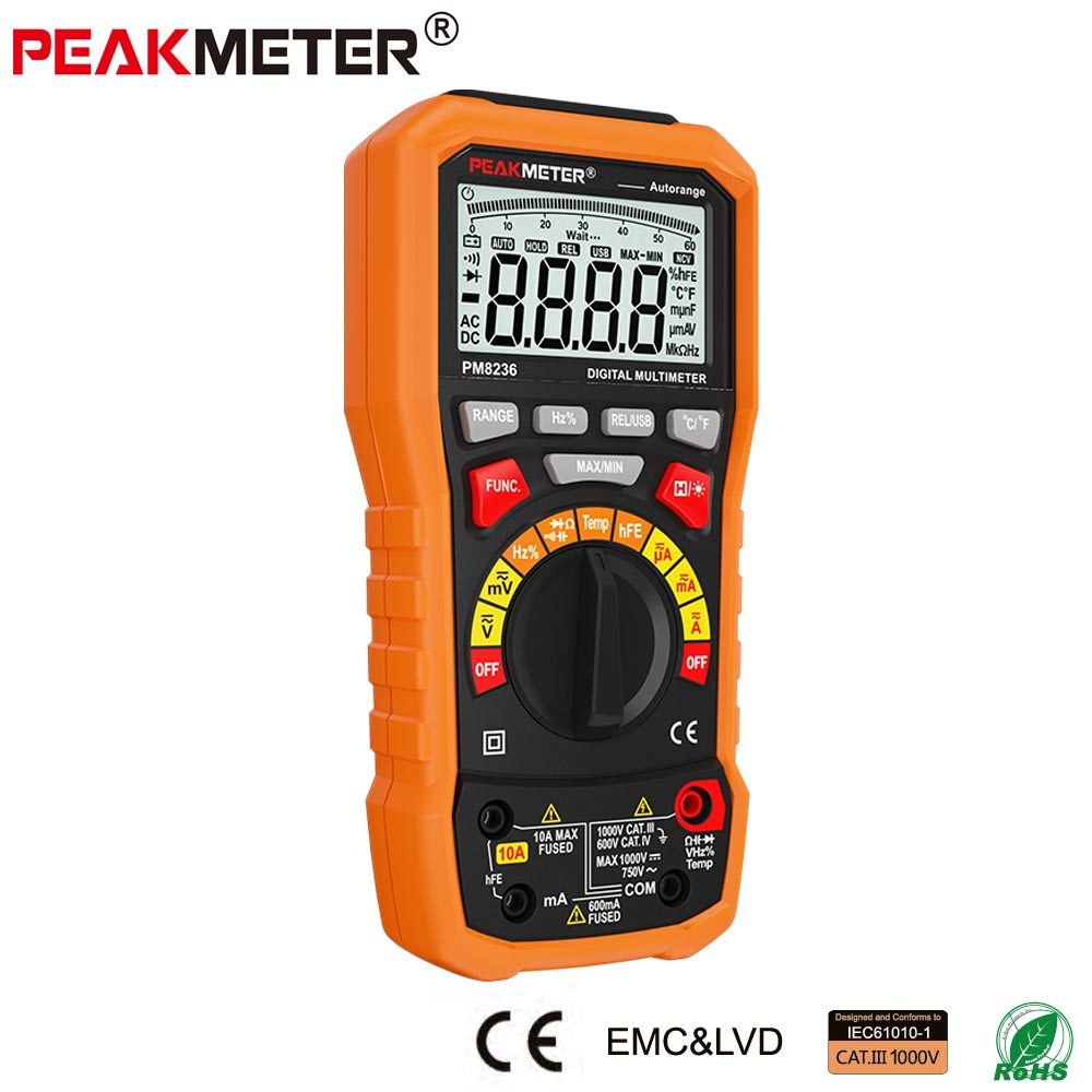 PEAKMETER MS8236 6000 Counts Digital Multimeter with T RMS / USB 1000V 10A 60M Ohm 100mF 10MHz Duty cycle Temperature