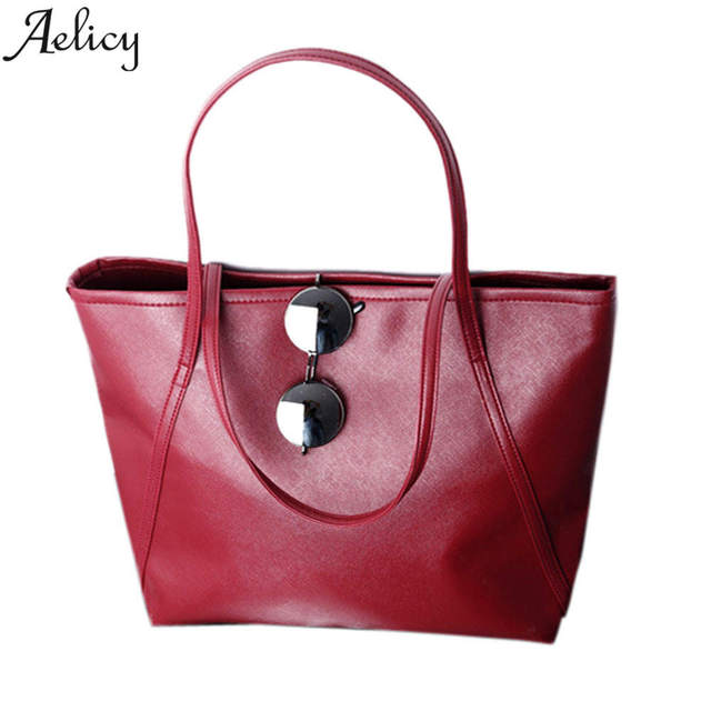 a0c7ba048bf7 Aelicy New 2018 PU Leather Women Csual Large Totes Simple Shoulder Bag  Female Pouch Ladies Bgs