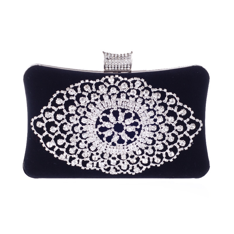 Elegant Finger Rings Evening Bag Diamonds Design Handbag Flower Rhinestone Accessory Lady Day Clutches Purse Bag For Wedding