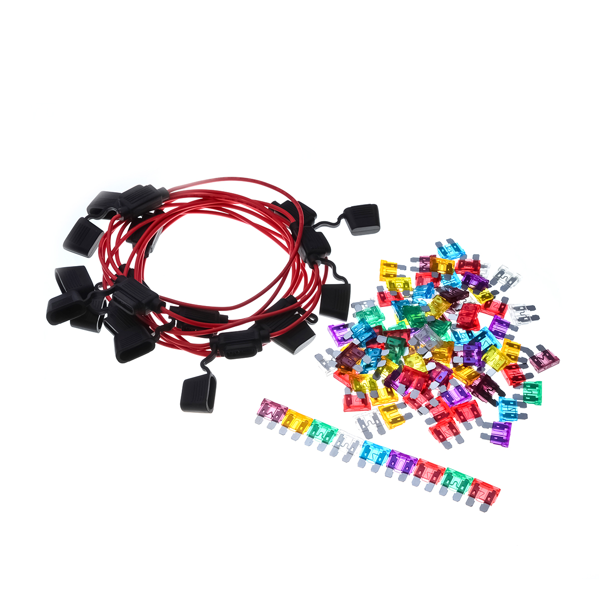 100PCS/Lot 90X ATC 8 Sizes Assorted Car Auto Truck Medium Size Blade Fuse Mix Set &10PCS 16AWG M Size Blade Fuse Holder In-Line add a circuit blade fuse holder with 30a blade fuse black medium size