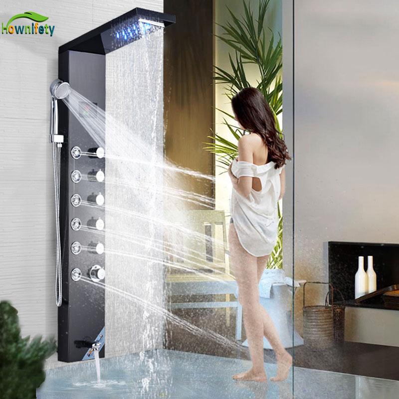 Luxury Shower Column Faucet Led Light Bathroom Bath Shower System SPA Massage Sprayer Temperature Screen Show
