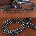 Camada superior de Luxo Projetistas Rebite Do Punk Rock Dos Homens de Couro Genuíno Cintos de Bala Estilo Hip Hop Jeans Metal Ceinture Strap Cintura