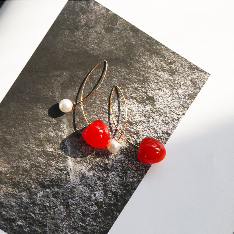 Cute Fruit Red Cherry Earrings For Women Girls Fashion Acrylic Resin Pearl Drop Earring Female Party Jewelry Hanging Earring in Drop Earrings from Jewelry Accessories