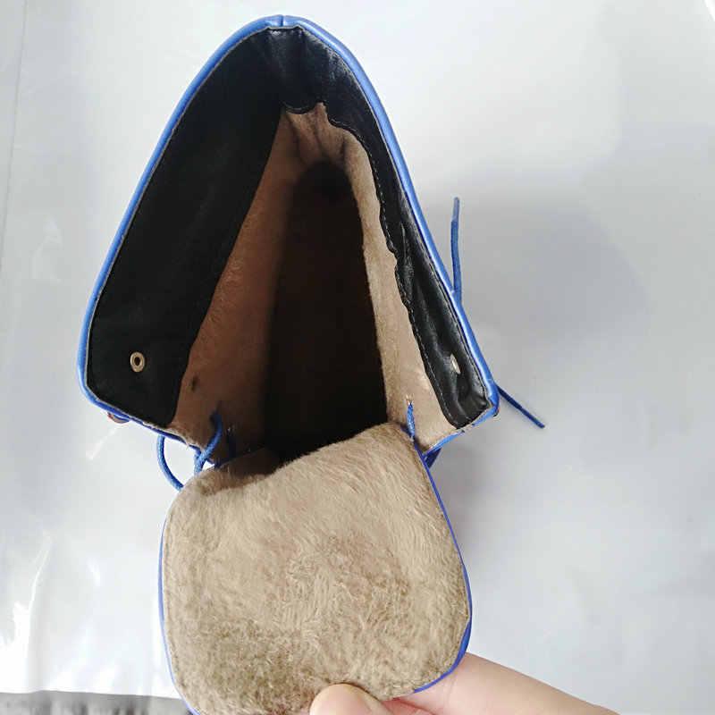 Mavi Siyah Moda Platformu Martin Çizmeler Kadın Kalın Yüksek Topuklu yarım çizmeler Lace Up Sonbahar Kış Kadın Ayakkabı Beyaz