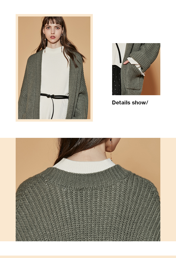 ONLY womens' autumn new cardigan long sweater sweater women Cuff design Cardigan design|11833B504 17