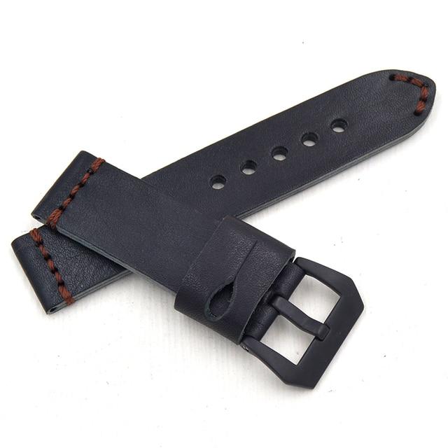 44dfcf26d5d9 Cuero genuino reloj correas 20mm 22mm 24mm 26mm cinturón negro grueso  Universal Watchbands Metal cepillado negro
