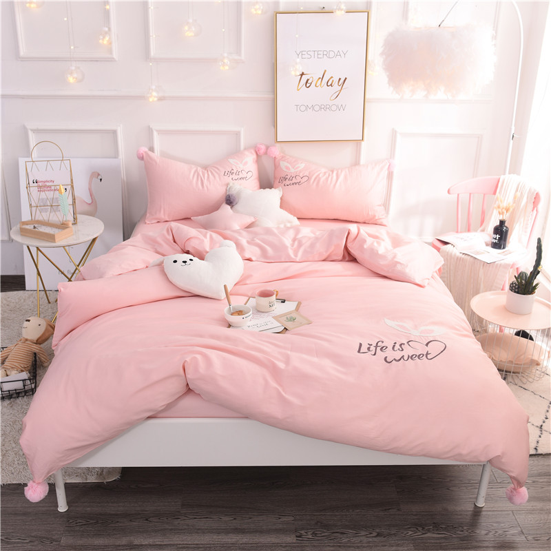 2018 Rabbit Embroidery Bedding Set White Gery pink Plush ball   Duvet Cover Set Twin Full Queen King Size   4pcs Bedclothes2018 Rabbit Embroidery Bedding Set White Gery pink Plush ball   Duvet Cover Set Twin Full Queen King Size   4pcs Bedclothes