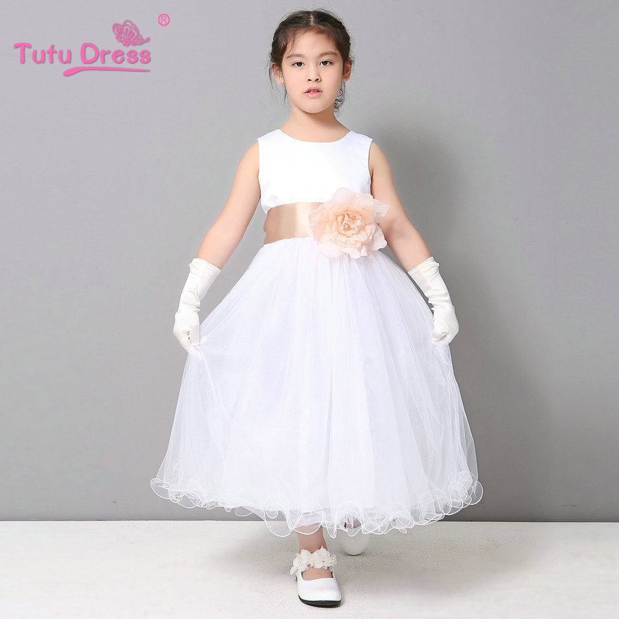 Flower girl petals dress children bridesmaid toddler for Dresses for wedding for kids