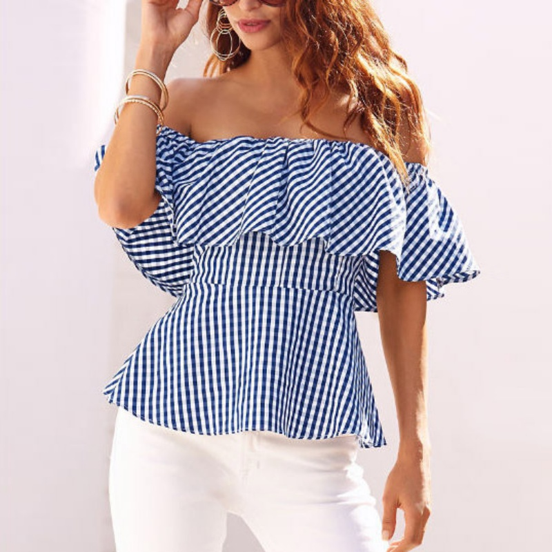Women Clothes Retail Store Women blouses Ladies Ruffled Off The Shoulder Casual Loose Slash Neck Tops Tees 2017 Summer Blouses