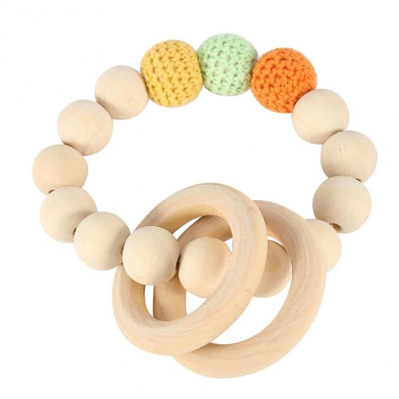 Jouet de dentition en bois naturel 1 pièce | Perles de bois, dents de bébé pour nouveau-né, jouet suspendu poussette, tissage main, Bracelet, jouet de dentition pour enfants
