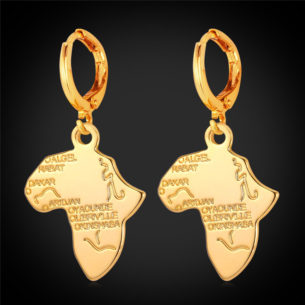 Bulk African Jewelry Africa Map Fashion Drop Earrings For Women Gold Silver