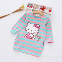 2017 Spring Autumn Baby Dress Cartoon Hello Kitty Dresses Cute Princess Stripe Cotton Dresses Fashion Kids