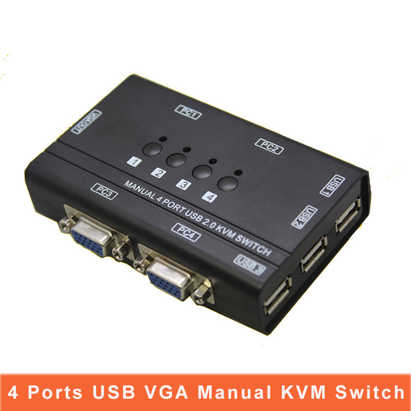 4Port Kvm Switcher Manual Control 4 PC Hosts By 1 Set Of USB Keyboard Mouse And VGA Monitor Multi PC Manage Original Cable