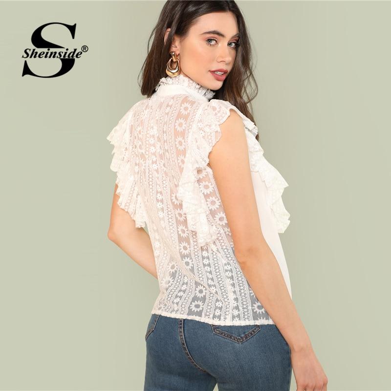 Sheinside White Floral Lace Shirt Women Mesh Sleeveles Plain Sheer Top 2018 Summer Office Ladies Workwear Elegant Blouse