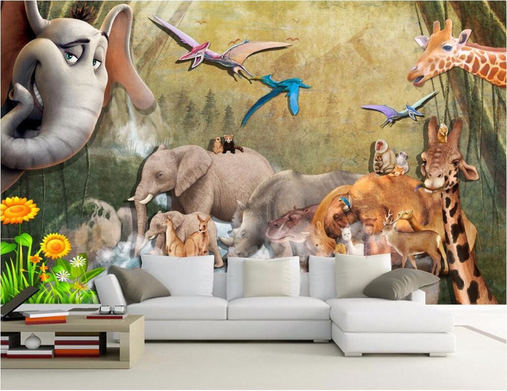 Custom photo mural 3d wallpaper  animal background of the elephant giraffe painting 3d wall murals wallpaper for walls 3 d custom baby wallpaper snow white and the seven dwarfs bedroom for the children s room mural backdrop stereoscopic 3d