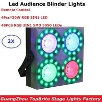 New Arrival 4 Eyes 4X30W RGB 3IN1 Led Audience Blinder DMX LED COB 150W Flat Par Lights With 48Pcs RGB Full Color SMD 5050 LEDS