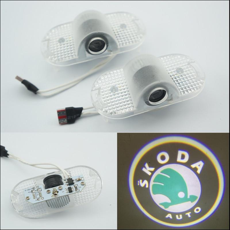 free shipping 2x Laser <font><b>LED</b></font> Door Step Courtesy Laser Projector Light For <font><b>SKODA</b></font> <font><b>Octavia</b></font>