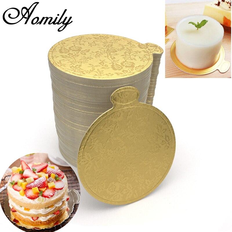 Aomily 100pcs/Set Gold Printing Round Mousse Cake Boards Paper Cupcake Dessert Displays Tray Wedding Cake Pastry Decorative Kit