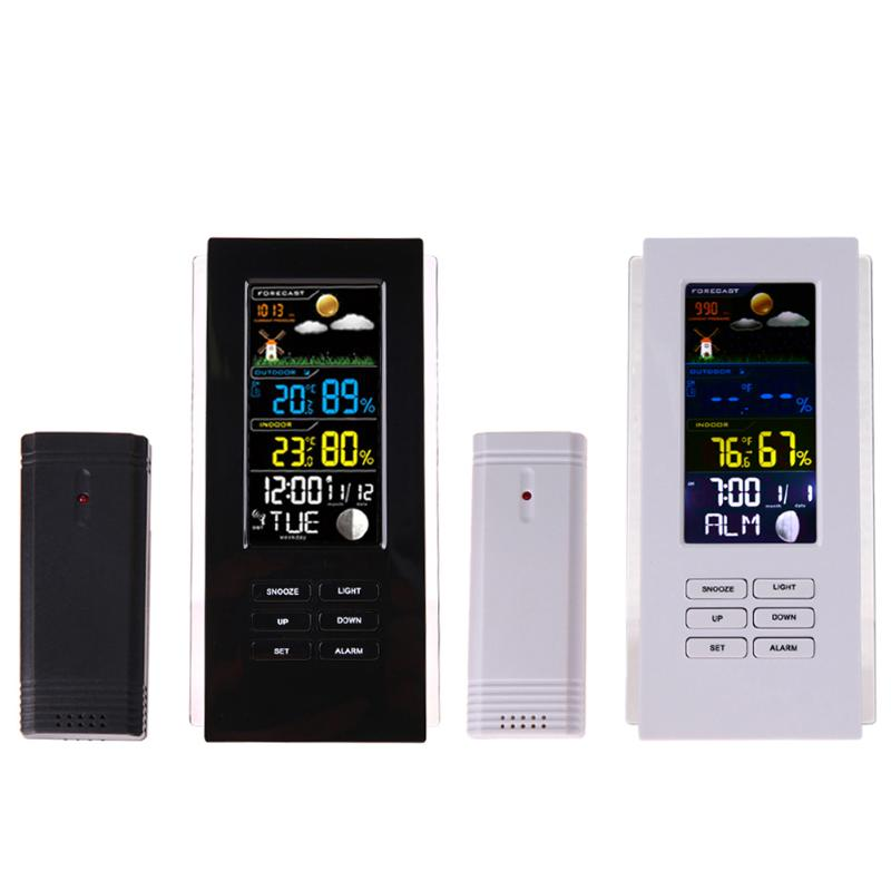 Wireless Weather Station Thermometer Forecast Humidity Indoor Outdoor Clock Alarm LCD Display Temperature Humidity Tester protmex wireless rcc weather station temperature humidity sensor colorful lcd display forecast clock in outdoor