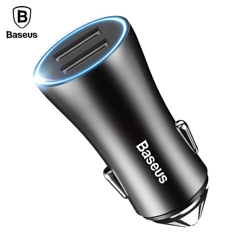 Baseus LED Do Carregador Do Telefone Do Carro Para o iphone Samsung Xiaomi Tablet PC Adaptador de Carregador de 2 USB Carregador Do Telefone Móvel Para O Carro carro-Carregador