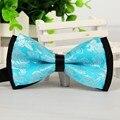 SHENNAIWEI 12cm*6cmmen casual Sky blue bow tie silver leaf jacquard fashion butterfly bowties