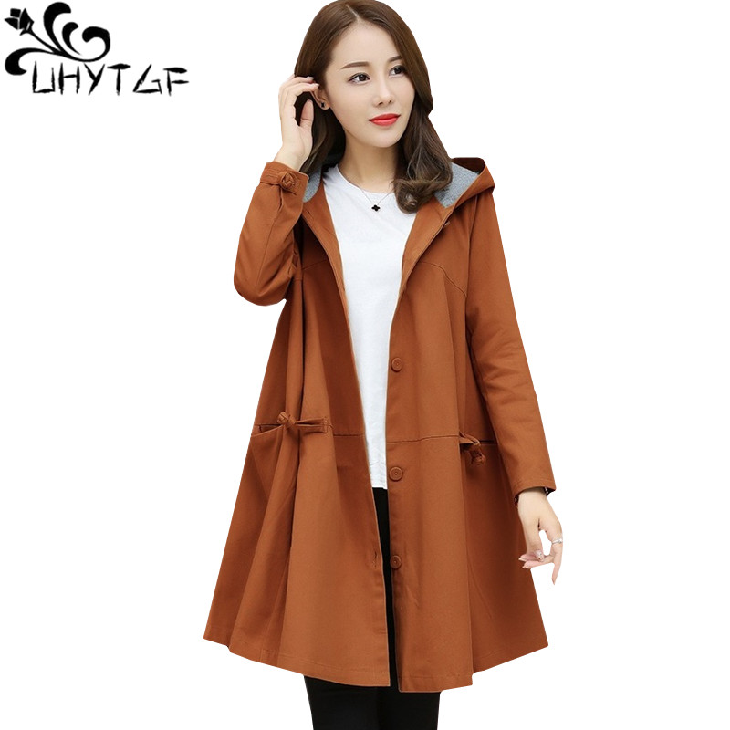 UHYTGF Loose thin Oversized coat women Korean fashion Spring autumn   trench   coat Female Hooded elegant temperament Lady coats 324