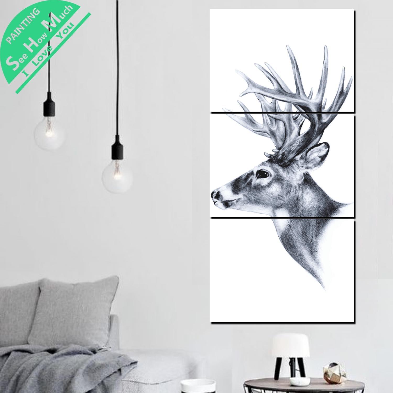 Лучший!  3 шт. Nordic Style Deer Canvas Art Декоративные Картины Стены Плакат Современные Настенные Панно  Лучший!