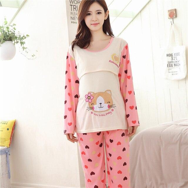 60f08e83cc8be Cotton cute Maternity breast feeding Sleepwear long sleeve shirt+pant  Maternity Pajamas nursing clothes for pregnant women