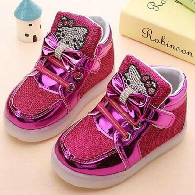 Children Shoes 2018 New Spring Hello Kitty Rhinestone Led Shoes Girls  Princess Cute Shoes With Light
