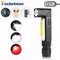 10000LM Ingebouwde batterij LED Zaklamp Waterdicht COB Licht staart magneet met USB Opladen torch 90 Graden Draaien Werk Licht