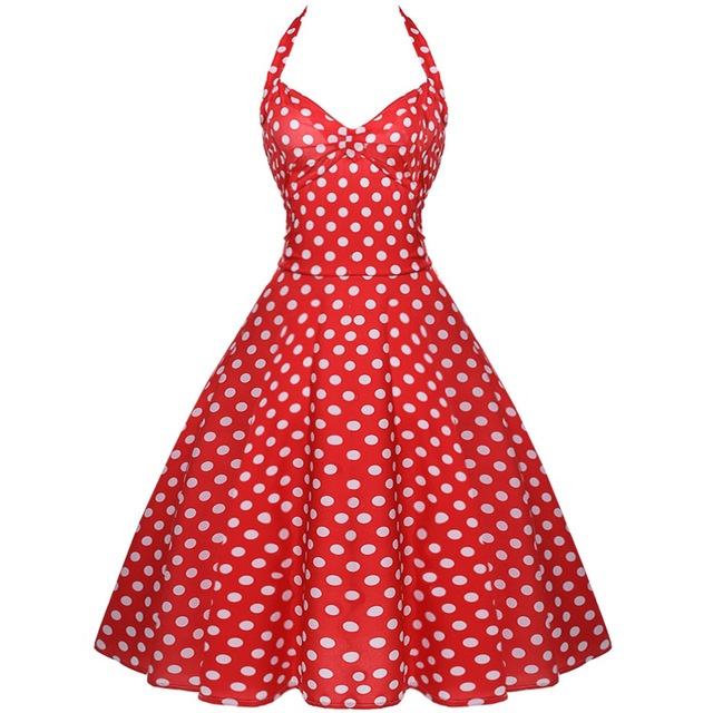 db295e8fa6c ... Retro White Polka Dot Dress Audrey Hepburn Vintage Halter Dress 50s 60s  Gothic Pin Up Rockabilly ...