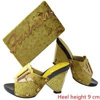 GL03 Ouro Nova Moda Casamento Africano Sapatos E Bolsa De Strass Saltos Mulher Com Saco de Sapatos Sexy Lady Bombas À Venda