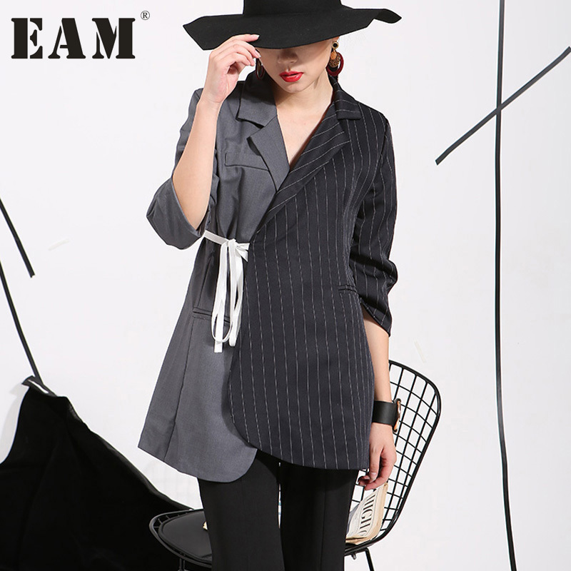 [EAM]2017 The new listing European and American style has caused the irregular striped suit jacket sleeve ladies wholesale 47632