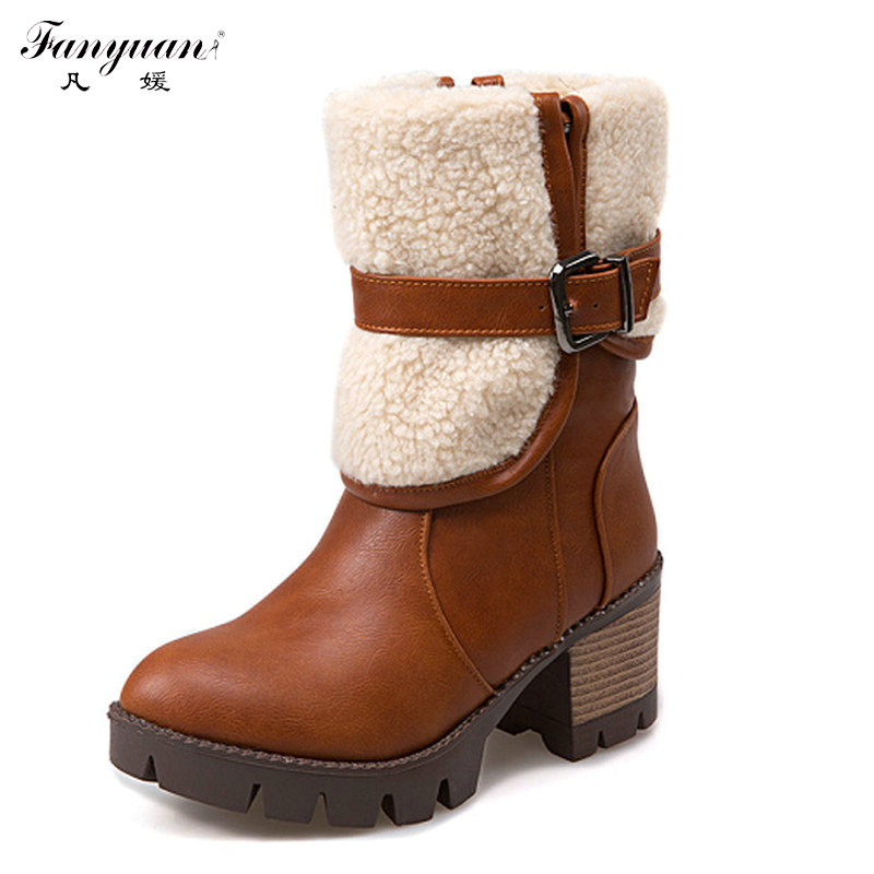 Woman Mid Calf Boots 2016 New Woman Thick Bottom Platform Shoes Woman Boots High Heel Woman