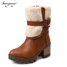 Woman Mid Calf Boots 2016 New Woman Thick Bottom Platform Shoes Woman Boots High Heel Woman Fur Collar Motorcycle Snow Boots