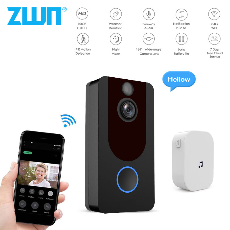 ZWN V7 HD 1080P Smart WiFi Video Doorbell Camera Visual Intercom With Chime Night Vision IP Door Bell Wireless Security Camera