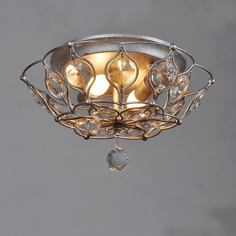 Modern Iron ceiling lamp Crystal Lamp Circular Garden Bedroom Lamp Antique Lamp Ceiling Living Room Led ceiling light