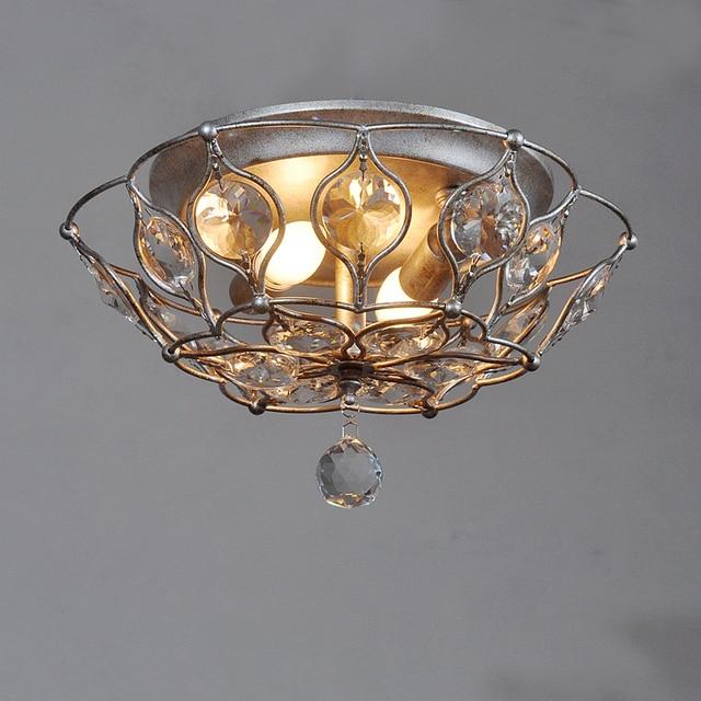 Moderne Eisen Deckenleuchte Kristall Lampe Rund Garten Schlafzimmer