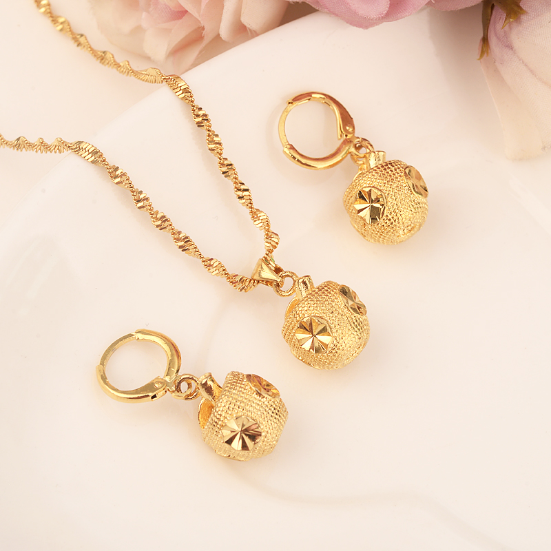 Gold Color Ethiopian Jewelry Sets  Eritrea Habesha Africa Bridals Wedding Apple Gift Necklace Pendnat Earrings Diy Charms