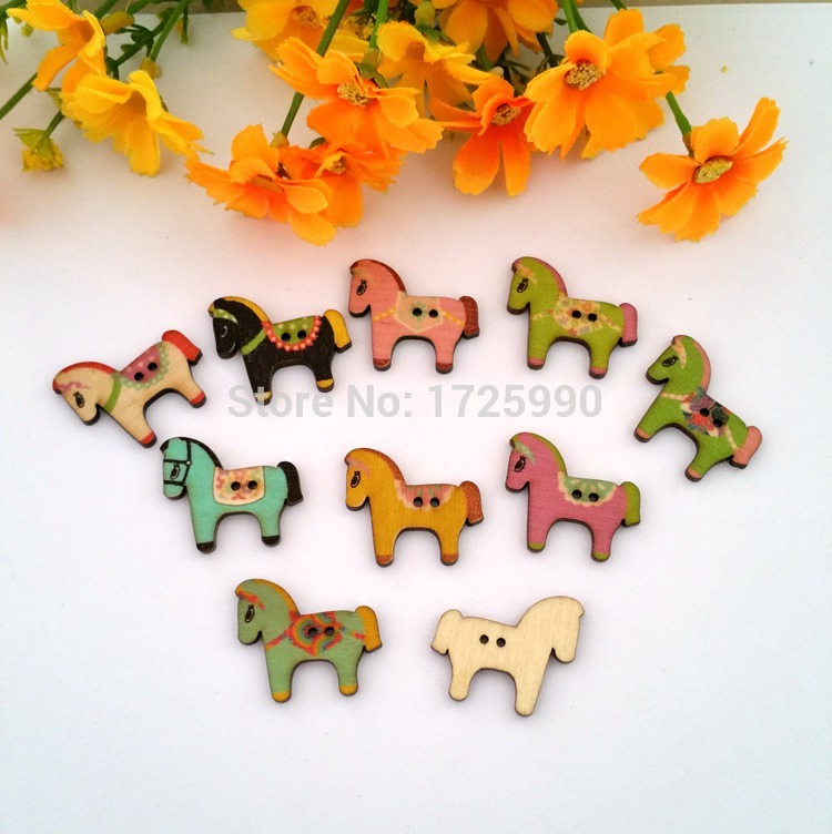 Mixed Horse Shape 2 Holes Wood Sewing Buttons for craft Scrapbooking 25mm*32mm, sold per packet of 80pcs