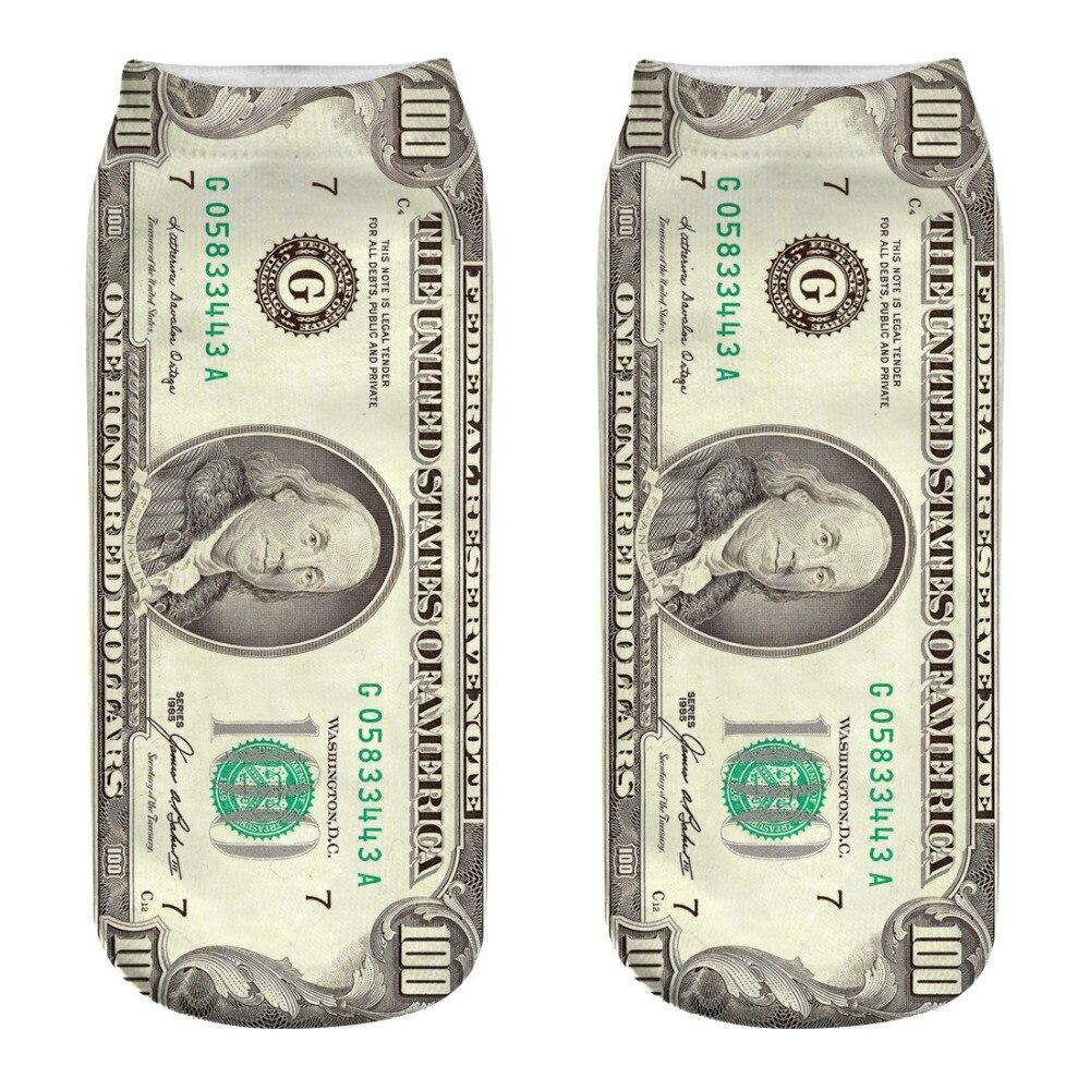 3D Printed Funny Socks Men Couple Women Money Marvel Dollar Summer Ankle Cotton Sock Short Corap Meias Cool Sokken