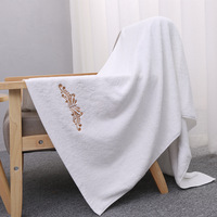 Qualität baumwolle verdicken badetuch langstapelige baumwolle bestickt handtuch für hotel/bad reine weiße farbe 140x70 cm großhandel
